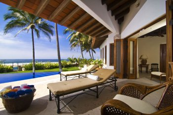 Covered pool area at Quinta Christileen, a luxury vacation rental in Punta Mita, Mexico