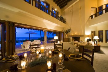 Main Dining Table in the Grand Room at Quinta Christileen, a luxury beach front vacation rental in Punta Mita, Mexico